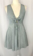 Lulus women sz m dress sleeveless fit flare gingham cute lined green cut out tie