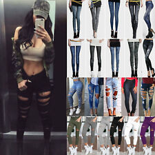 Womens Stretch Ripped Frayed Pants Denim Jeans Skinny Jeggings Casual Trousers