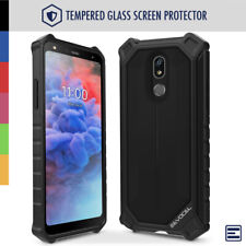 LG Stylo 5 Rugged Hard Cover Phone Case with Glass Screen Protector - Evocel