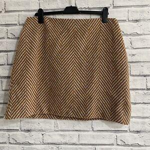 M&S Mini Skirt UK 16 Herringbone A-Line Brown Grey Wool