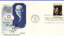 First Day Cover. # 1553  FLEETWOOD FDC Benjamin West. Painter. 1975