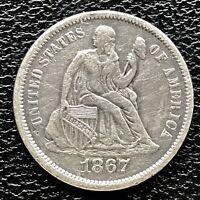 1867 S Seated Liberty Dime 10c RARE KEY DATE High Grade AU Det. #17262