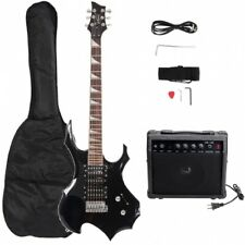 Burning Fire Style Electric Guitar Black W/ Bag Pick Strap &Accessories