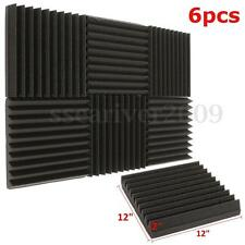 "6 Pack Acoustic Studio Foam Tiles 10T Wall Panels Soundproofing Wedge 12""x12""x2"""