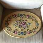 Oval Floral Blue, Purple, Pink Handmade Needlepoint Tapestry