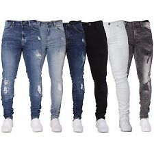 Enzo Mens Skinny Fit Ripped Jeans Stretch Distressed Smart Denim Pants Trousers