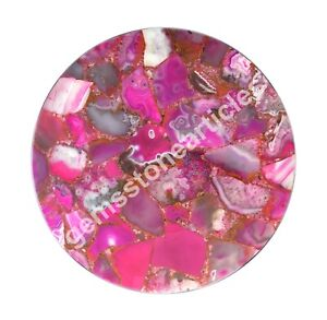 "14""x14"" Adornment Pink Agate Stone Hallway Coffee Table Top Gift Decor Art"