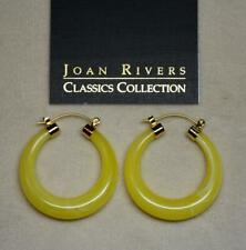 Of Jade Yellow Swirl Hoop Pierced Earring New Joan Rivers Gold Ep Lucite Look