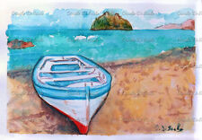 acquerello Ischia castello aragonese barca mare marina dipinto a mano no stampa
