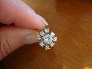 ANTIQUE 18K 750 SOLID WHITE GOLD DIAMONDS FLOWER RING  3.8 GRAMS SIZE 6.5
