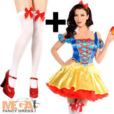 Snow White + Stockings Ladies Fancy Dress Fairy Tale Book Day Adults Costume