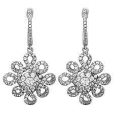 .925 Sterling Silver Dangle Chandelier Earrings with AAA quality CZ