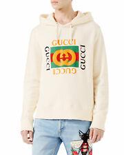 GUCCI *Fake Future* HUGE GG Logo Distressed Hoodie Sweatshirt Off-White/Cream L