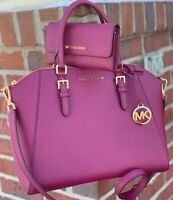 MICHAEL KORS CIARA LARGE BAG MAGENTA PİNK LEATHER PURSE SATCHEL TRIFOLD WALLET