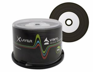 50 Xlayer Black Bottom Vinyl CD-R blank CD discs White Printable 48x 700MB