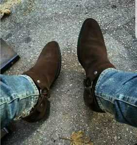 Mens Handmade Brown Ankle High Suede Leather Chelsea Boots Formal-Casual Shoes