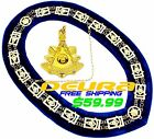 Masonic PENDANT + Collar PAST MASTER BLUE BACKING GOLD CHAIN DMR-200GB+PMPGOLD