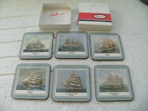 VINTAGE PIMPERNEL DE LUXE FINISH SET OF 6 COASTERS IN ORIGINAL BOX - TALL SHIPS