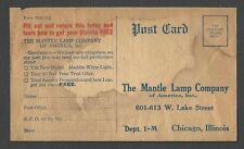 Ca 1908 PC MANTLE LAMP CO CHICAGO IL OIL BURNING LAMP, STAINED UNPOSTED