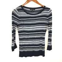Banana Republic Blue Striped Thin Knit Crewneck Pullover Sweater Women's Size XS