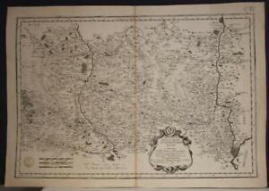 LYON ROANNE FRANCE 1659 SANSON & MARIETTE UNUSUAL ANTIQUE COPPER ENGRAVED MAP