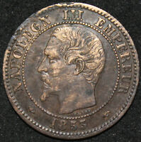 1853 A | France 2 Centimes | Bronze | Coins | KM Coins