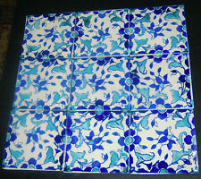 "9 Beautiful Cobalt Blue & Turquoise Tiles 6"" x 6"" White Floral Mural"