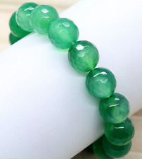 Natural 10mm Green Faceted Emerald Gemstone Round Beads Bracelet 7.5'' AAA