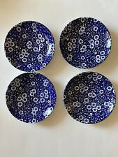 4 Vintage Made in England Marked Blue and White Floral Pattern Butter Dishes