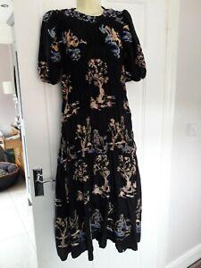 Zara Black Oriental Embroidered Gathered Celeb Dress Worn Only Once Size L 14