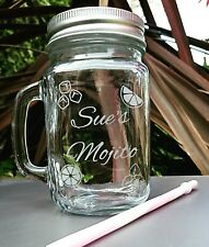 Personalised Engraved Mason Drinking Jar,  Mojito, Cocktail Glass, New