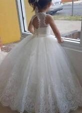 Lovely White Mermaid Flower Girl Dress Long Sleeve Lace First Communion Dresses