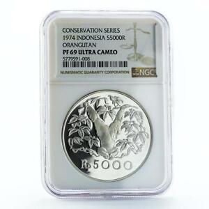 Indonesia 5000 rupiah Animal series Orangutan PF69 NGC silver coin 1974