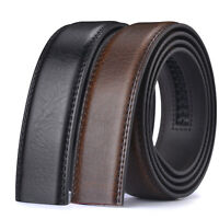 Luxury Men's Automatic Buckle Belt Ratchet Strap Black Brown Leather Strap Jeans
