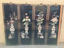 "VTG Chinese Asian Oriental Mother Of Pearl Black 4 Panel Wall Art 48""x36"" Screen"