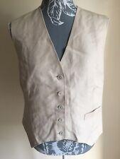 Daks Womens Waistcoat Medium Size 14 Cream Silk Formal Pocket Buttons V-Neck