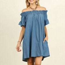 UK Summer Sexy Women Off Shoulder Bardot Denim Look Shirt Dress Tops Plus Size