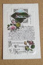 Vintage Postcard: Birthday Greetings, Mother, Rose, Flowers, Beagles