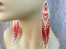 Exclusive Silver Red Sky Boho Native style 5 1/4in delica beaded earrings