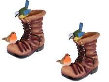 décoratif extérieur Pack de 2 peint main bottes pots fleurs avec oiseaux
