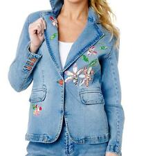 DG2 Stretch Denim Floral Blazer Chambray Blue Jean Jacket   $69.90 XS