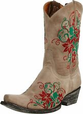New Old Gringo Bone Rania Floral Embroidered Cowboy Boots 9.5 Genuine Leather
