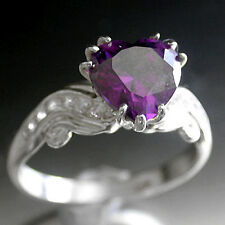 925 HALLMARKED SOLID SILVER HEART CUT simulated AMETHYST LADIES Ring | sz 5 J1/2