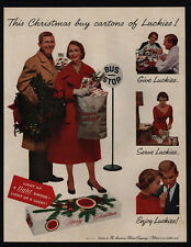 1957 Man & Woman Give Cartons Of LUCKY STRIKE Cigarettes As Gifts -  VINTAGE AD