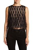 Gorgeous Nicole Miller taupe lace and black feathers top S 8