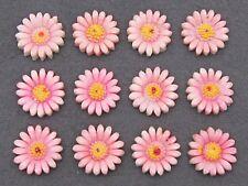 (12) VTG light pink DAISY flower celluloid cabochon charms JAPAN flat back 16mm