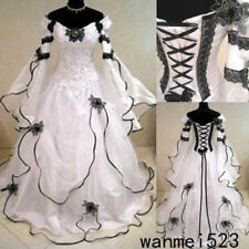 Black and White Medieval Gothic Wedding Ball Gown Victorian Country Bridal Dress