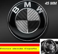 EMBLEMA LOGO INSIGNIA FIBRA DE CARBONO NEGRA VOLANTE BMW DE 45 MM.