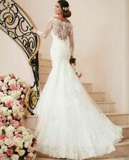 Custom Made 2020 Lace White Mermaid Wedding Dress Ivory Bridal Gown Petite Size