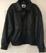 Misty Harbor Original Mens Leather Bomber Jacket Size L/Quilted Lining